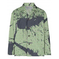Homme Plissé Issey Miyake Mens Jeansjacke mit Burnt-Out-Print in style THFE428