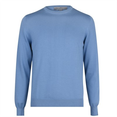 CANALI Crew Neck Knitted Jumper Mens Blue 430 Classic outfits 26DH47688