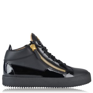 GIUSEPPE ZANOTTI May Patent High Top Top Trainers Men's Black 86441 most comfortable CFWCU8783