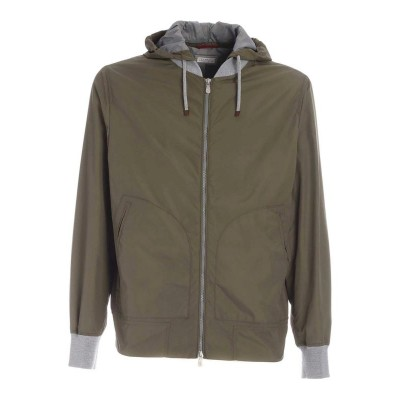 Brunello Cucinelli Men Hooded jacket in green Style outlet L8NOHPA3