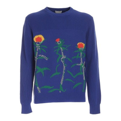 Ballantyne Men Floral inlay sweater in electric blue  FW30BDIG