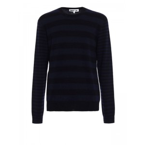 Mcq Men's Black and blue striped wool sweater On Sale YEA8MPDR