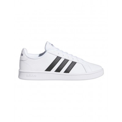 Adidas Men Grand Court White/Core Black sale online JRZQKMB - Synthetic Leather Upper Rubber Outsole Textile Lining