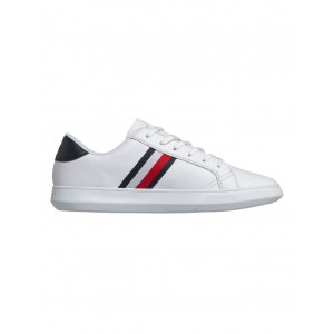 Tommy Hilfiger Men's Essential Leather Cupsole Sneaker White/Midnight in style QKLACXN - 80% Leather 13% Polyester 7% Polyurethane
